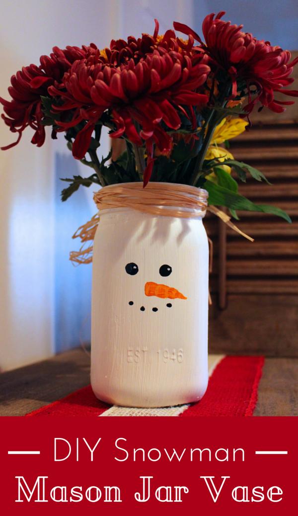 DIY Snowman Mason Jar Vase